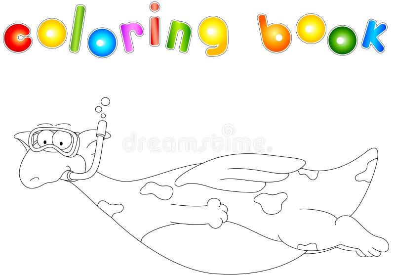 Buceador del dragón de la historieta Libro de colorear para los niños stock de ilustración