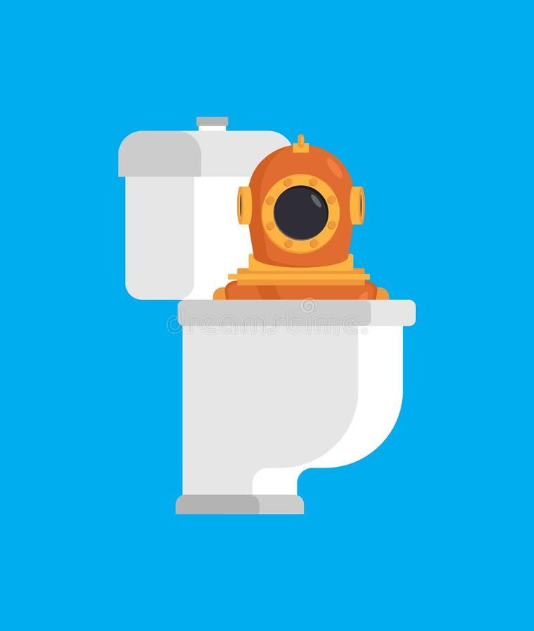 Buceador del retrete Buceador subacuático retro en el WC Illustra del vector libre illustration