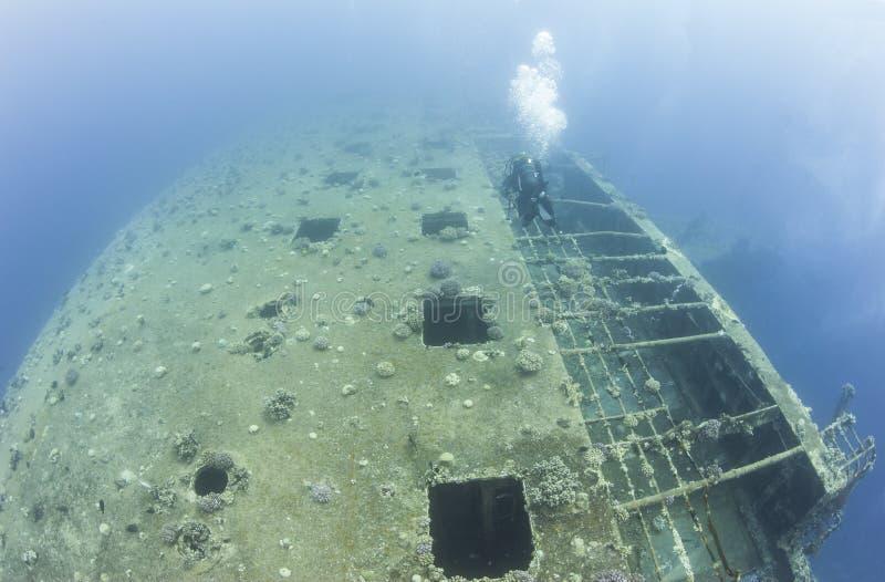 Buceador que explora un naufragio grande imagen de archivo libre de regalías
