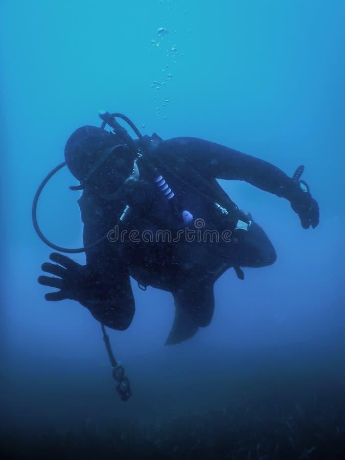 Buceador Swimming en un agua azul que mira la cámara imagen de archivo