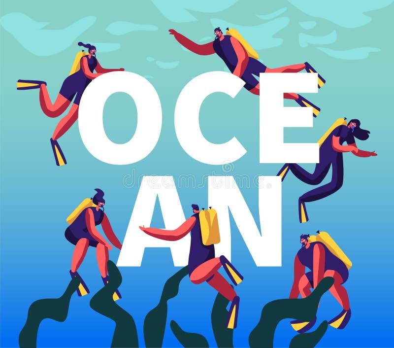 Buceadores en concepto del océano El varón que bucea y los caracteres femeninos riegan con poca agua las actividades de la divers libre illustration