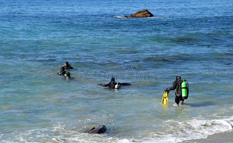 Buceadores en Moss Street Cove, Laguna Beach, California fotos de archivo