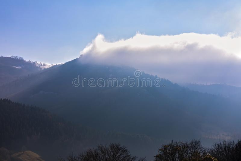 Bucegi mountains, Brasov, Romania: Landscape view in the sunniday light stock photo