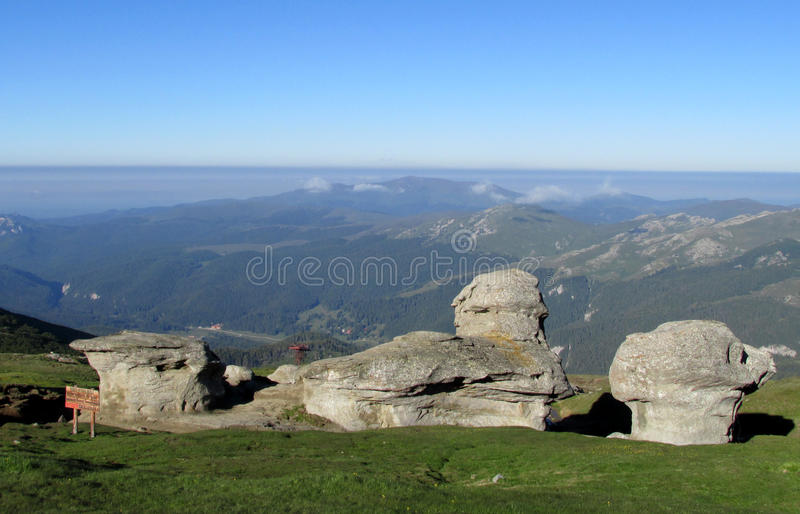 Bucegi Mountains in central Romania with unusual rock formations Sphinx and Babele. The Bucegi Mountains located in central Romania, south of the royalty free stock photos