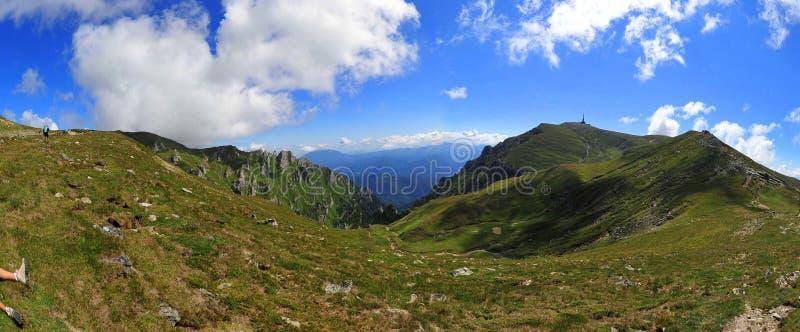 Bucegi mountains plateau with peak Costila. Panoramic view of the Bucegi plateau with the Costila peak on the right side stock photos