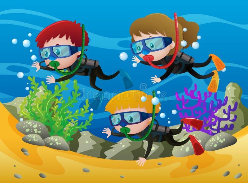 Buceo con escafandra de tres niños debajo del mar stock de ilustración