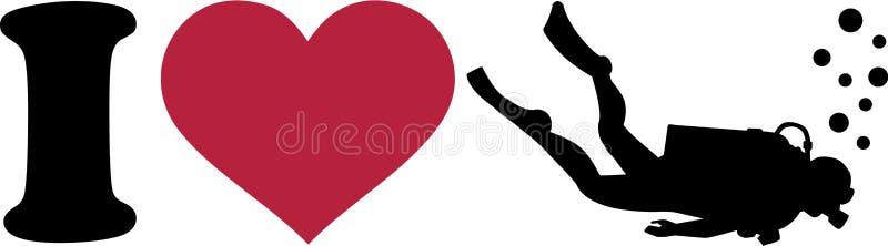 Buceo con escafandra del corazón i stock de ilustración