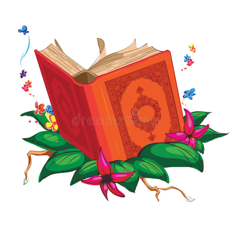 Buch auf den Blättern umgeben mit Blumen lizenzfreie abbildung