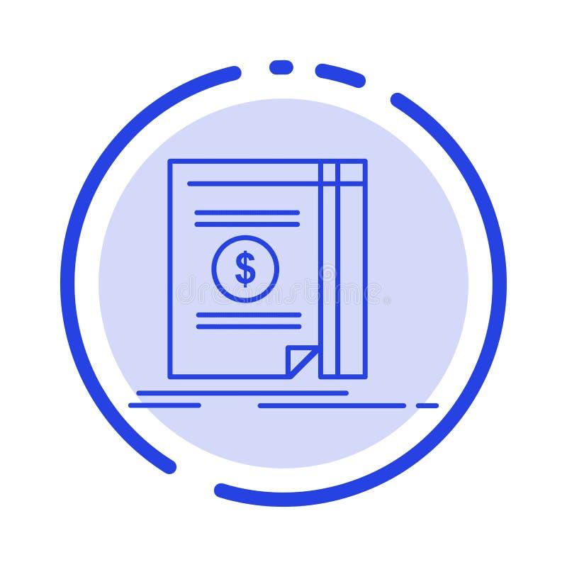 Buch, Bargeld, Geld, neue Linie Ikone der blauen punktierten Linie vektor abbildung