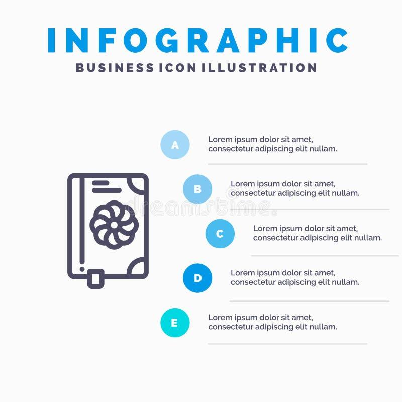 Buch, Blume, Text, Frühlings-Linie Ikone mit Hintergrund infographics Darstellung mit 5 Schritten lizenzfreie abbildung