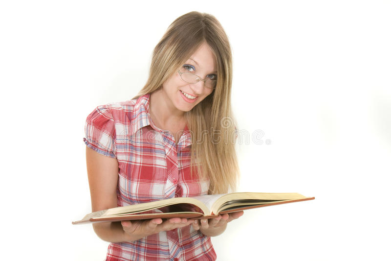Buch der jungen Frau Lese lizenzfreies stockfoto