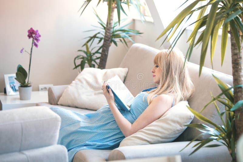 Buch der schwangeren Frau Lesein der Wohnung stockbilder