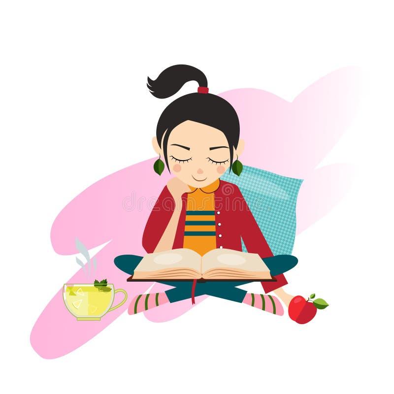 Buch des jungen Mädchens der Abbildung Lese lizenzfreie abbildung