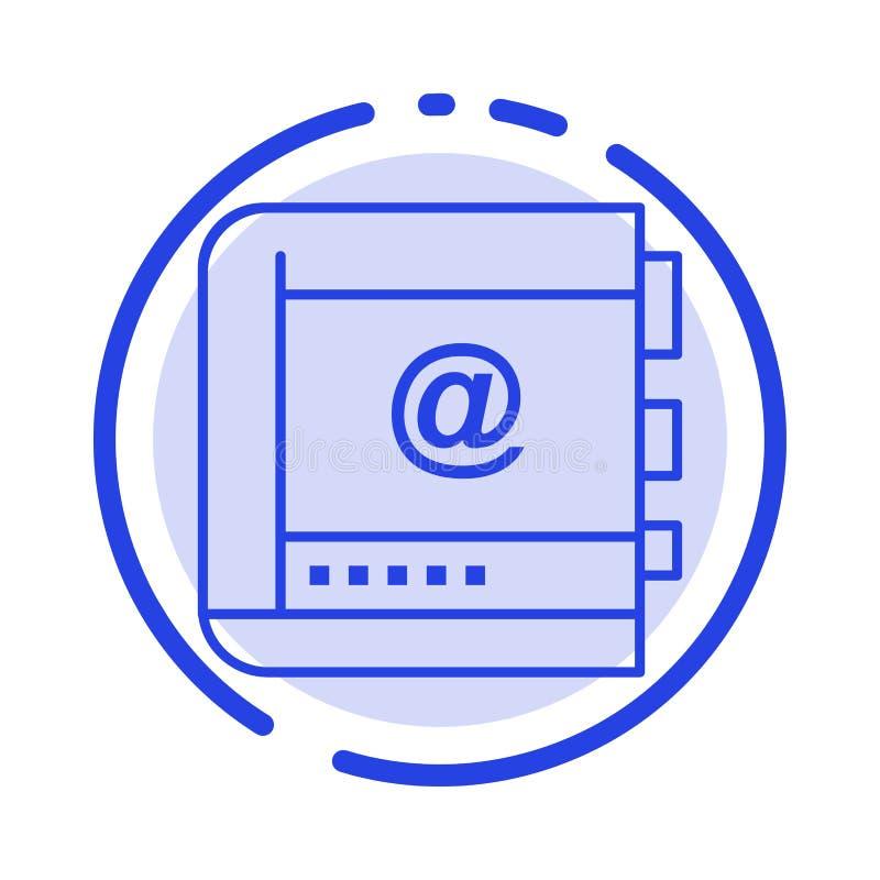 Buch, Geschäft, Kontakt, Kontakte, Internet, Telefon, Linie Ikone der Telefon-blauen punktierten Linie stock abbildung