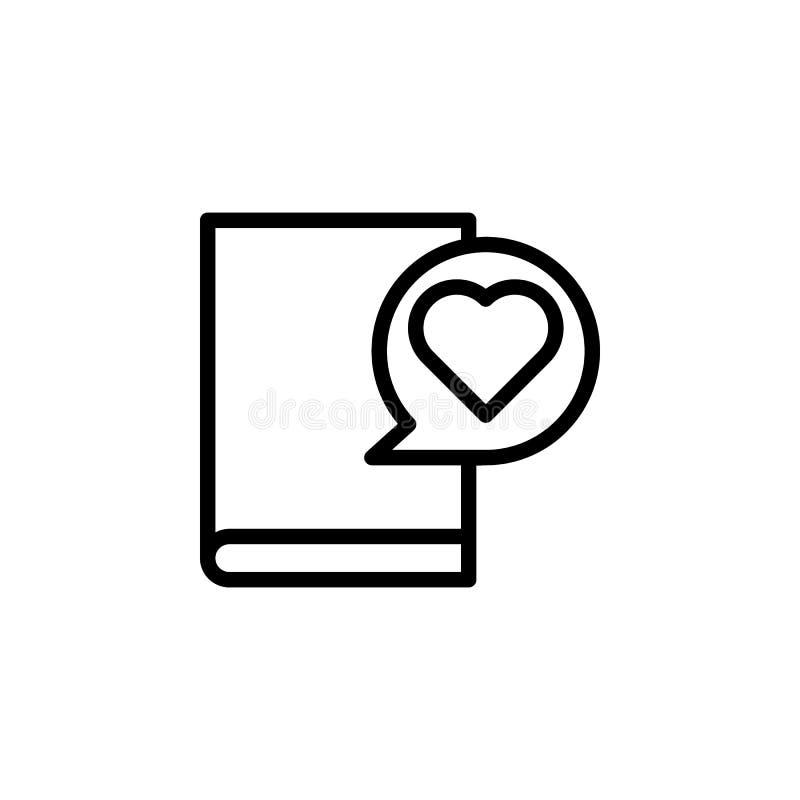 Buch, Herz-Symbol Element des Bildungs-Symbols Symbol für dünne Linie stock abbildung