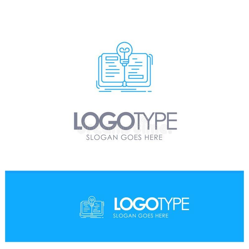 Buch, Idee, Roman, blaues Logo Entwurf der Geschichte mit Platz für Tagline lizenzfreie abbildung