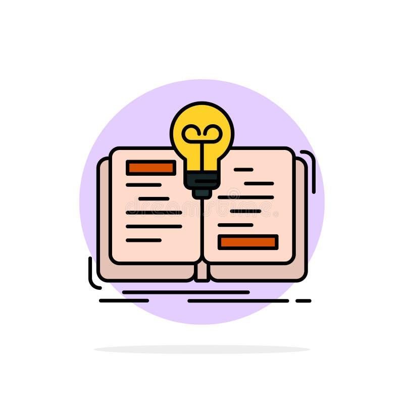 Buch, Idee, Roman, flache Ikone Farbe des Geschichten-Zusammenfassungs-Kreis-Hintergrundes lizenzfreie abbildung