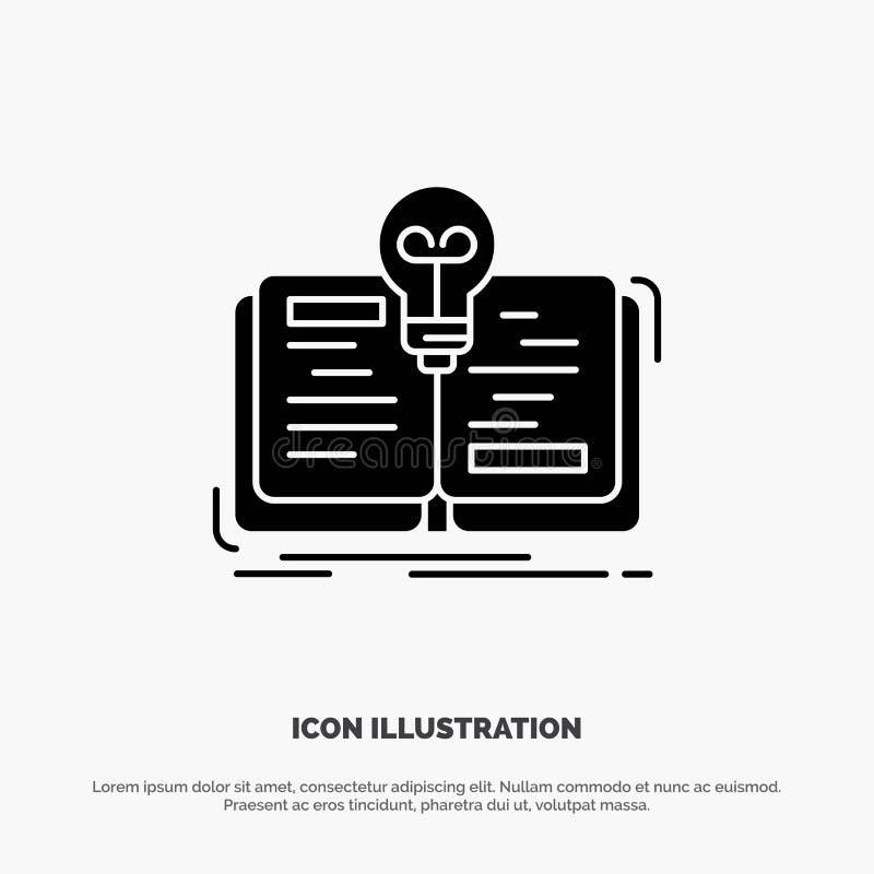 Buch, Idee, Roman, Geschichte fester Glyph-Ikonenvektor lizenzfreie abbildung