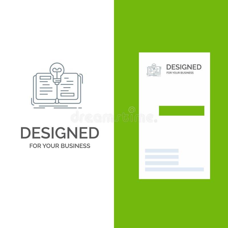 Buch, Idee, Roman, Geschichte Grey Logo Design und Visitenkarte-Schablone vektor abbildung