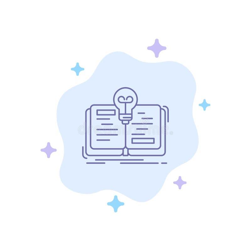 Buch, Idee, Roman, Geschichten-blaue Ikone auf abstraktem Wolken-Hintergrund stock abbildung