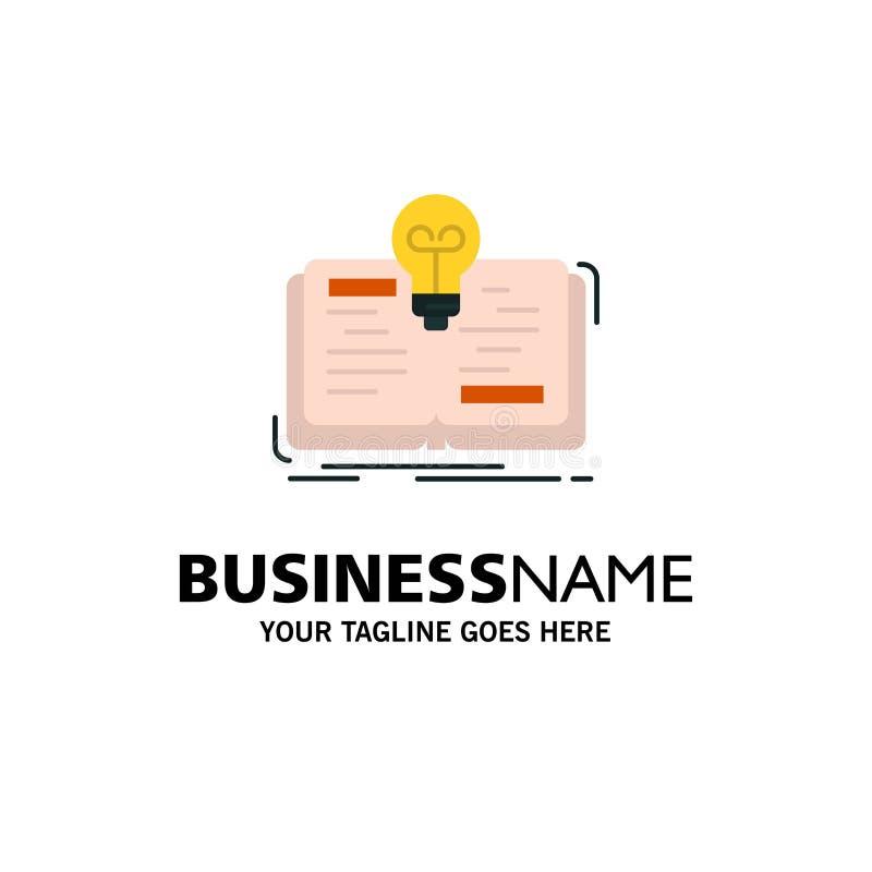 Buch, Idee, Roman, Geschichten-Geschäft Logo Template flache Farbe lizenzfreie abbildung
