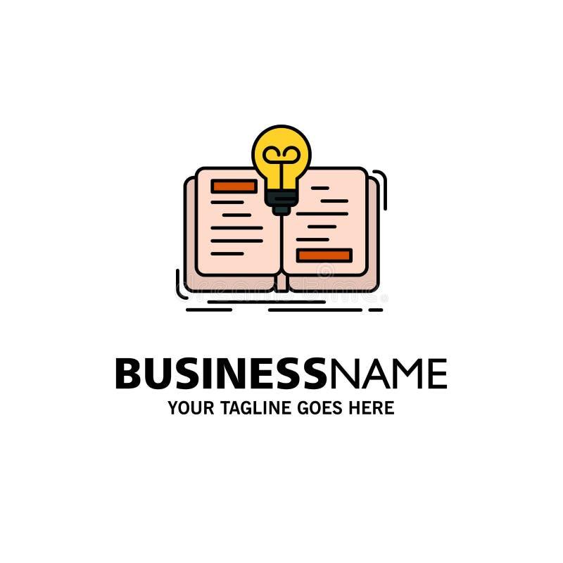Buch, Idee, Roman, Geschichten-Geschäft Logo Template flache Farbe stock abbildung