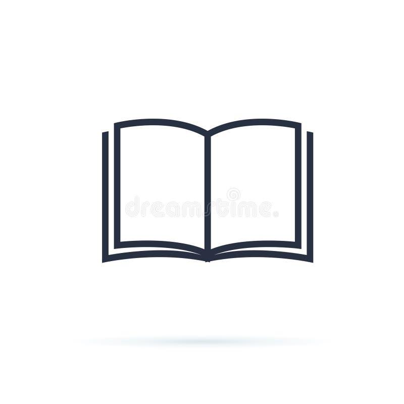 Buch-Ikonen-Vektor Runde metallische Knöpfe Flache Entwurfsillustration des kühlen Vektors auf Lesung mit abstrakter Linie offene vektor abbildung