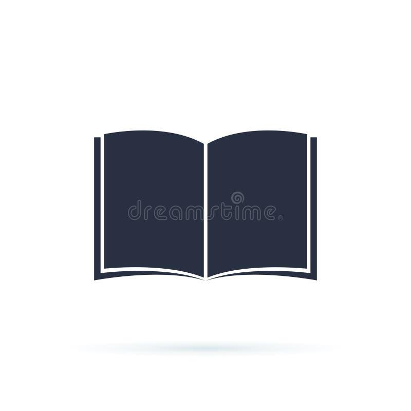 Buch-Ikonen-Vektor Runde metallische Kn?pfe Flache Entwurfsillustration des k?hlen Vektors auf Lesung mit abstrakter Linie offene vektor abbildung
