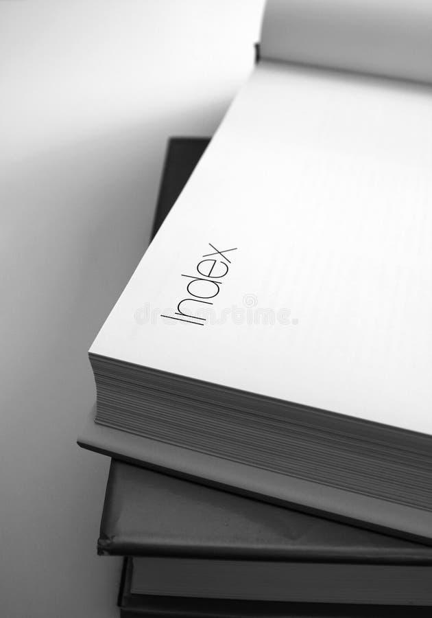 Buch-Index stockfotos