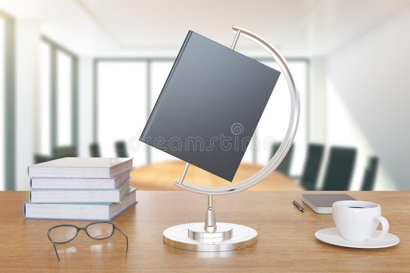 Buch ist wie eine Kugel auf dem Schreibtisch mit Büchern und Tasse Kaffee stockbilder