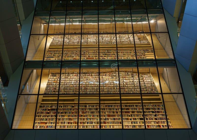 Buch istallation im Innenraum des lettischen Nationalbibliothek-alias Schlosses des Lichtes, Riga, Lettland, am 25. Juli 2018 lizenzfreie stockbilder