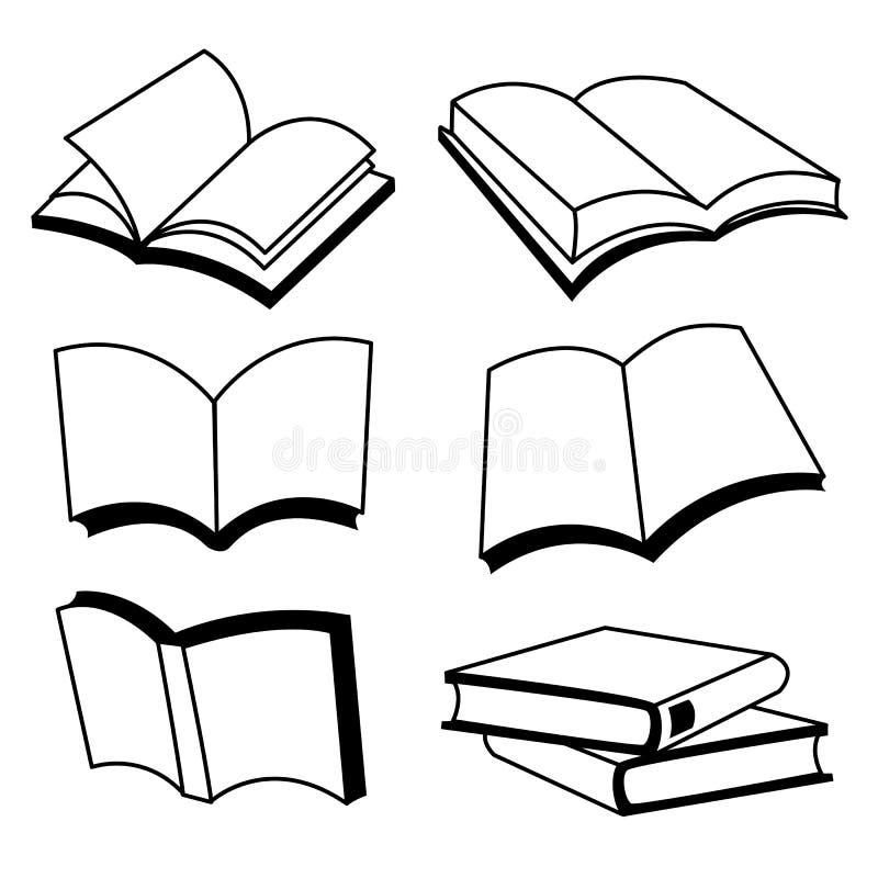 Buch-Linie Ikonen-Vektor-Design lizenzfreie abbildung