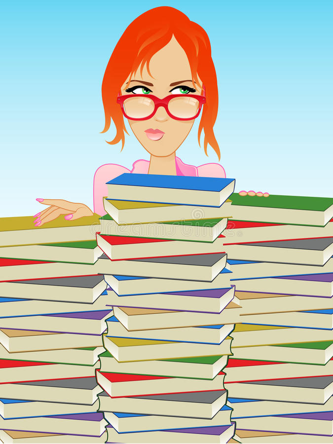 Buch-Mädchen/Librarian vektor abbildung