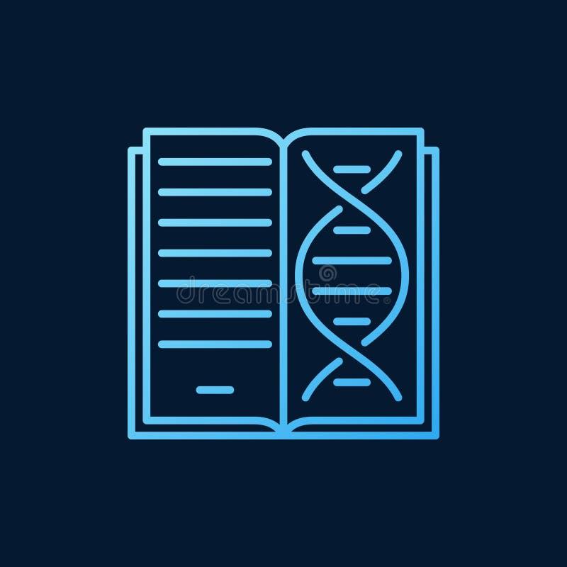 Buch mit blauer Ikone oder Symbol des DNA-Vektor Genetikentwurfs stock abbildung