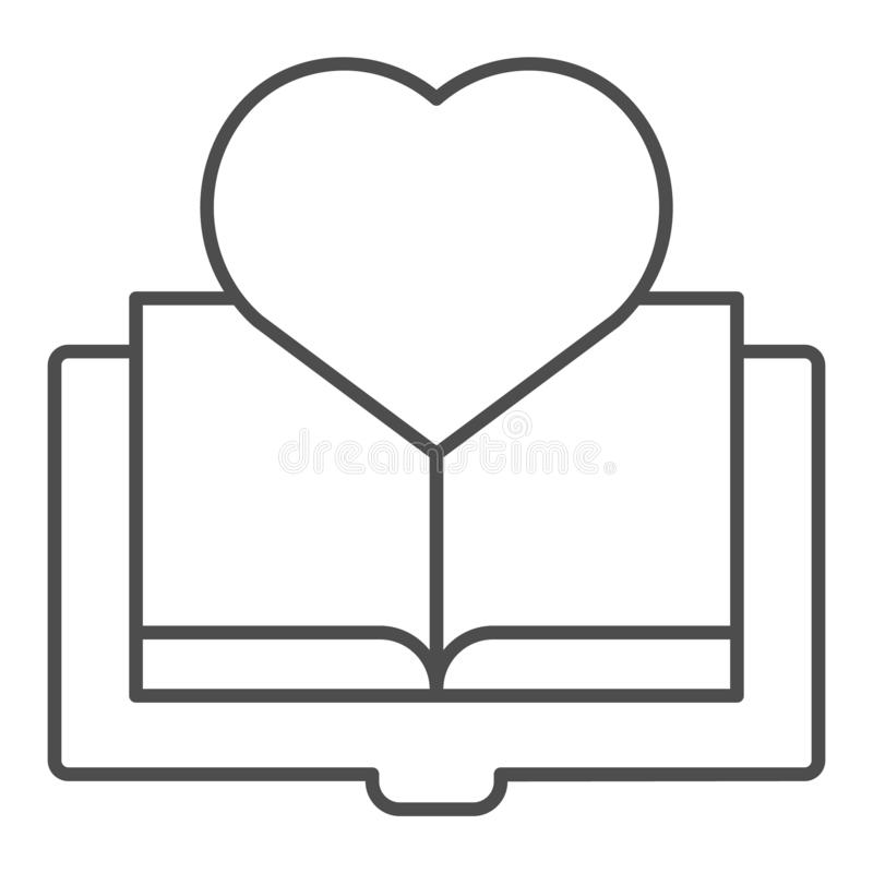 Buch mit dünner Linie Ikone des Herzens Lieblingsbuchvektorillustration lokalisiert auf Weiß ENTWURFS-Artentwurf der Liebe Ablese lizenzfreie abbildung