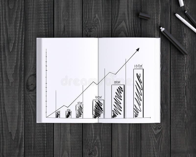 Buch mit Diagramm stockfoto