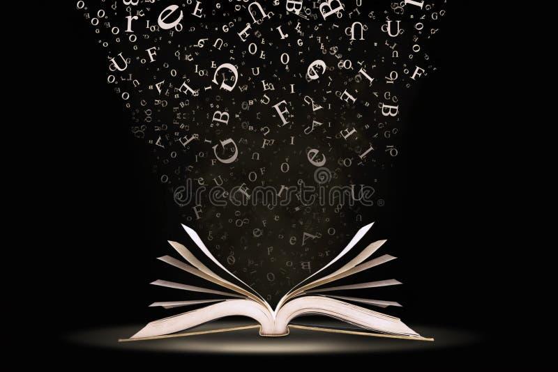 Buch mit fallenden Zeichen stockfoto