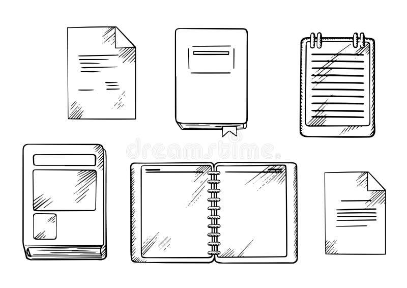 Buch-, Notizbuch-, Notizblock- und Tagebuchskizzen stock abbildung