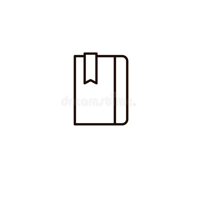 Buch, Notizbuchvektorikone, Tagebuchnotizblockzeichen, unbedeutende dünne Linie Entwurfsentwurf, Organisatorillustration vektor abbildung