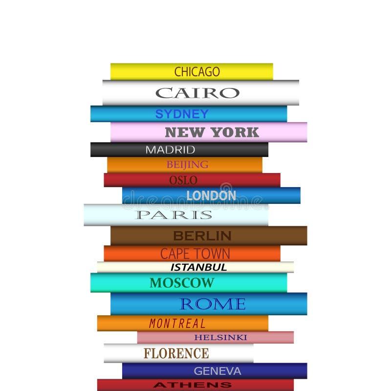 Buch-Reiseziele-Turm lizenzfreie abbildung