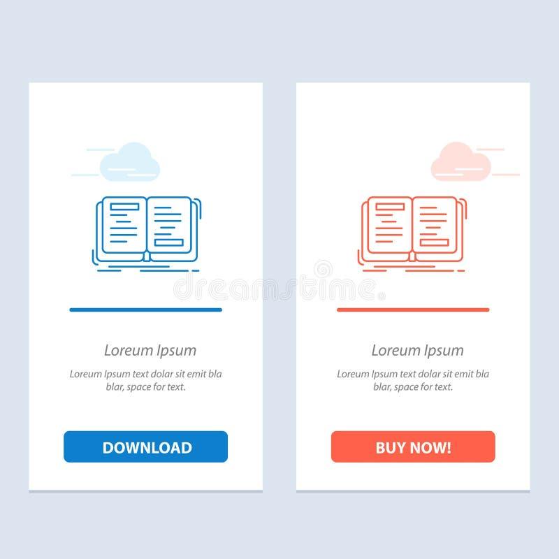 Buch, Roman, Geschichte, Schreiben, Theorie-Blau und rotes Download und Netz Widget-Karten-Schablone jetzt kaufen stock abbildung