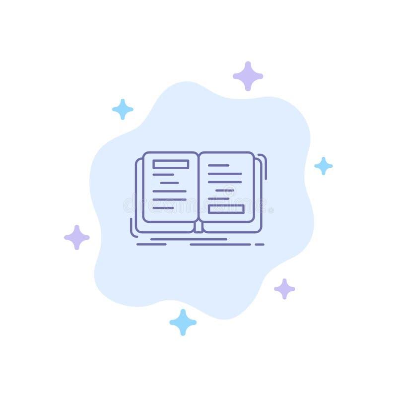 Buch, Roman, Geschichte, Schreiben, Theorie-blaue Ikone auf abstraktem Wolken-Hintergrund lizenzfreie abbildung