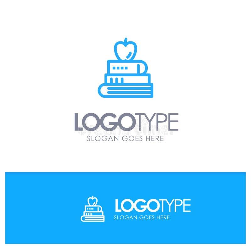 Buch, Stift, Nahrung, Ausbildung blauer Logo Line Style stock abbildung
