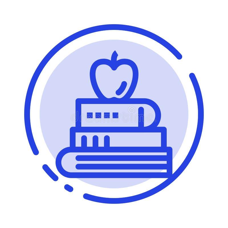 Buch, Stift, Nahrung, Linie Ikone der Ausbildungs-blauen punktierten Linie vektor abbildung