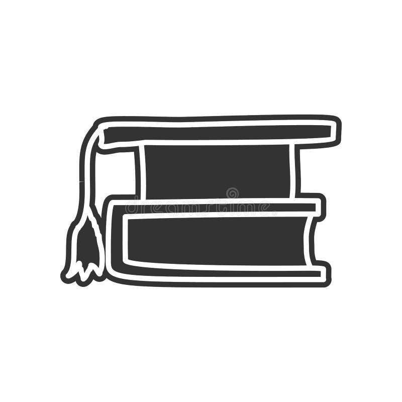 Buch- und Absolventkappenskizzenikone Element der Bildung für bewegliches Konzept und Netz apps Ikone Glyph, flache Ikone für Web vektor abbildung