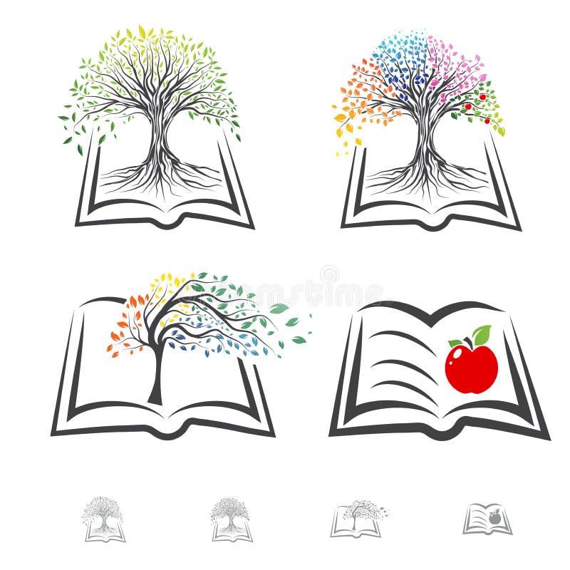 Buch-und Baum-Ausbildungsthemasatz lizenzfreies stockfoto