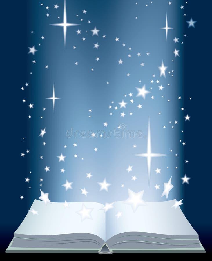 Buch und glänzende Sterne lizenzfreie abbildung