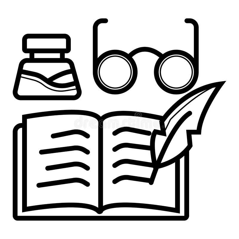 Buch- und Glasikone lizenzfreie abbildung
