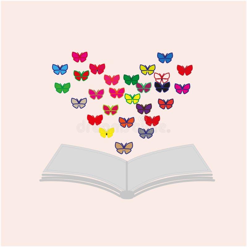 Buch und Schmetterlinge stockbilder
