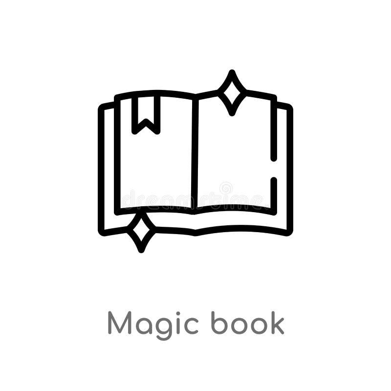 Buch-Vektorikone des Entwurfs magische lokalisiertes schwarzes einfaches Linienelementillustration vom magischen Konzept editable vektor abbildung